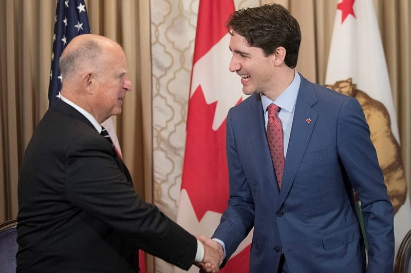 a36d5bd541d California Governor Brown Meets with Canada Prime Minister Trudeau in San  Francisco