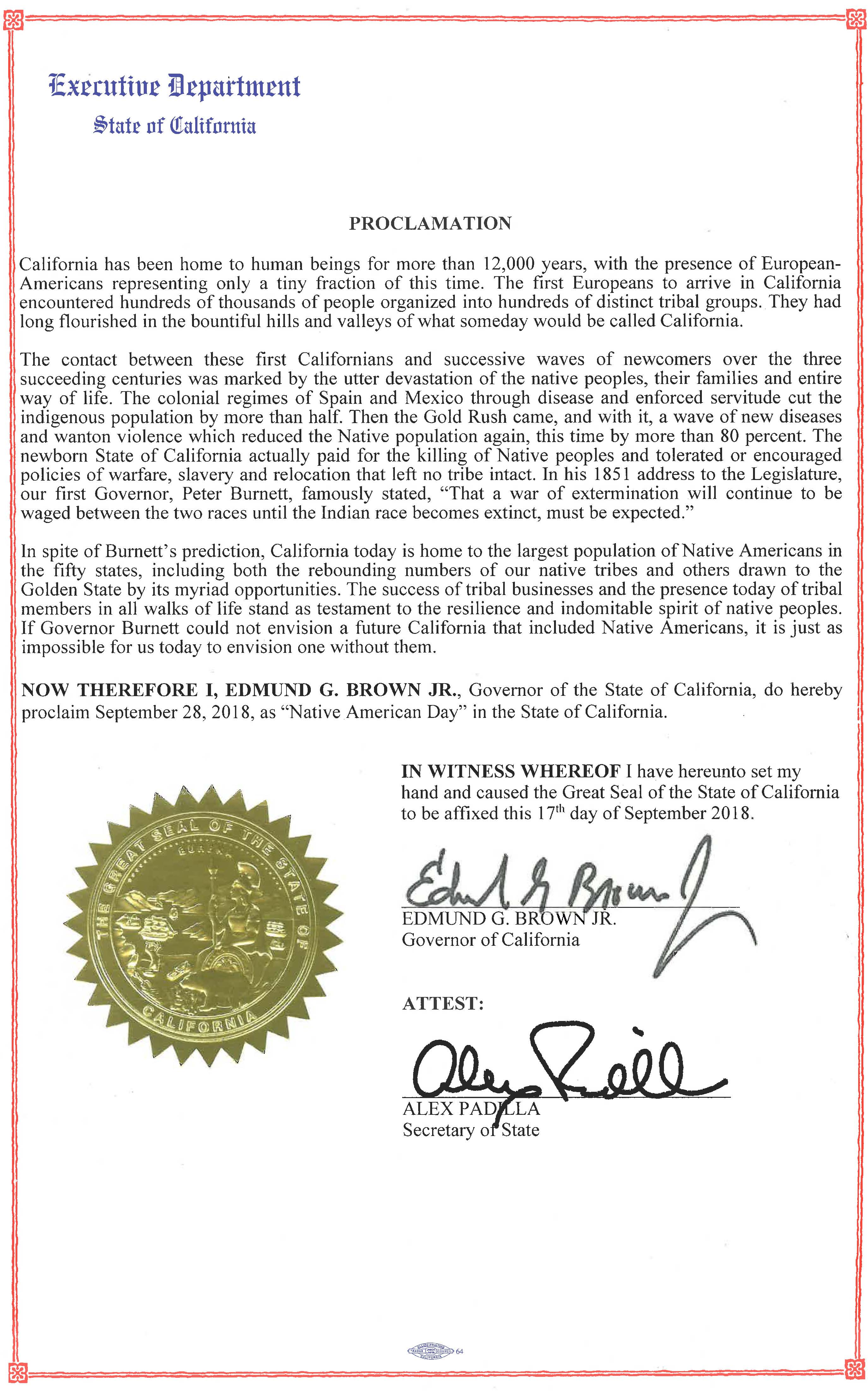 Governor Brown Issues Proclamation Declaring Native American